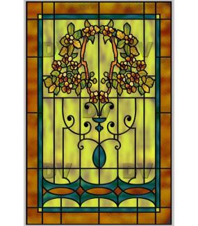 Sticker-vitrail-art-nouveau-retro-vintage-fleur-médaillon-vitrophanie-électrostatique-sans-colle-repositionnable-réutilisable-ou-adhésif-décoration-fenêtres-vitres-DECO-VITRES