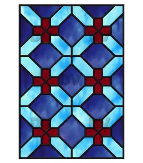 Sticker-vitrail-géométrique-bleu-rouge-croix-ancien-vintage-retro-vitrophanie-électrostatique-sans-colle-repositionnable-réutilisable-ou-adhésif-décoration-fenêtres-vitres-DECO-VITRES