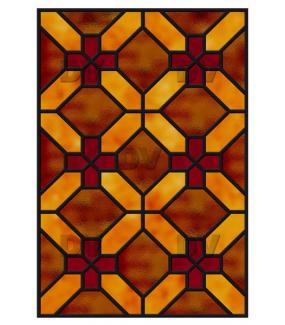 Sticker-vitrail-géométrique-marron-rouge-croix-ancien-vintage-retro-vitrophanie-électrostatique-sans-colle-repositionnable-réutilisable-ou-adhésif-décoration-fenêtres-vitres-DECO-VITRES
