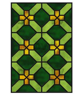Sticker-vitrail-géométrique-vert-jaune-croix-ancien-vintage-retro-vitrophanie-électrostatique-sans-colle-repositionnable-réutilisable-ou-adhésif-décoration-fenêtres-vitres-DECO-VITRES