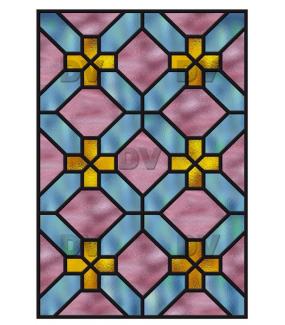 Sticker-vitrail-géométrique-bleu-rose-jaune-croix-ancien-vintage-retro-vitrophanie-électrostatique-sans-colle-repositionnable-réutilisable-ou-adhésif-décoration-fenêtres-vitres-DECO-VITRES