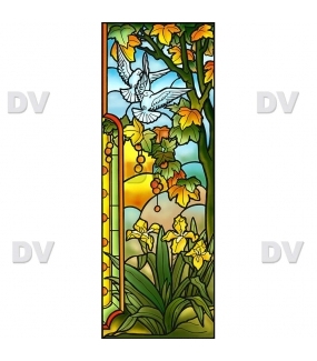 Sticker-vitrail-arbres-platane-iris-fleurs-colombes-paysage-nature-retro-vitrophanie-électrostatique-sans-colle-repositionnable-réutilisable-ou-adhésif-décoration-fenêtres-vitres-DECO-VITRES