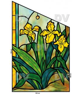 VITP1406 - Sticker vitrail fleurs format personnalisé