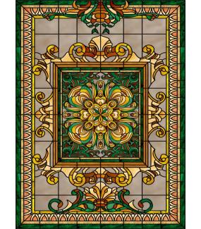 VITP1414 - Lot de 3 stickers vitrail art deco personnalisés