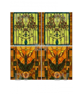 VITP1418 - Lot de 4 stickers vitraux personnalisés