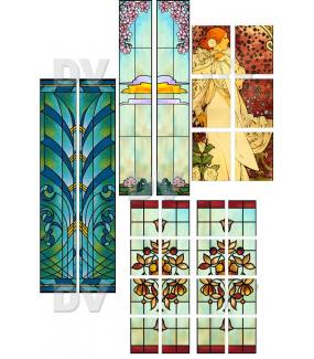 VITP1434 - Lot de 7 stickers vitrail format personnalisé