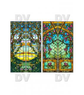 VITP1466 - Lot de 4 stickers vitrail format personnalisé