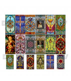 VITP1562 - Lot de 18 stickers vitraux personnalisés