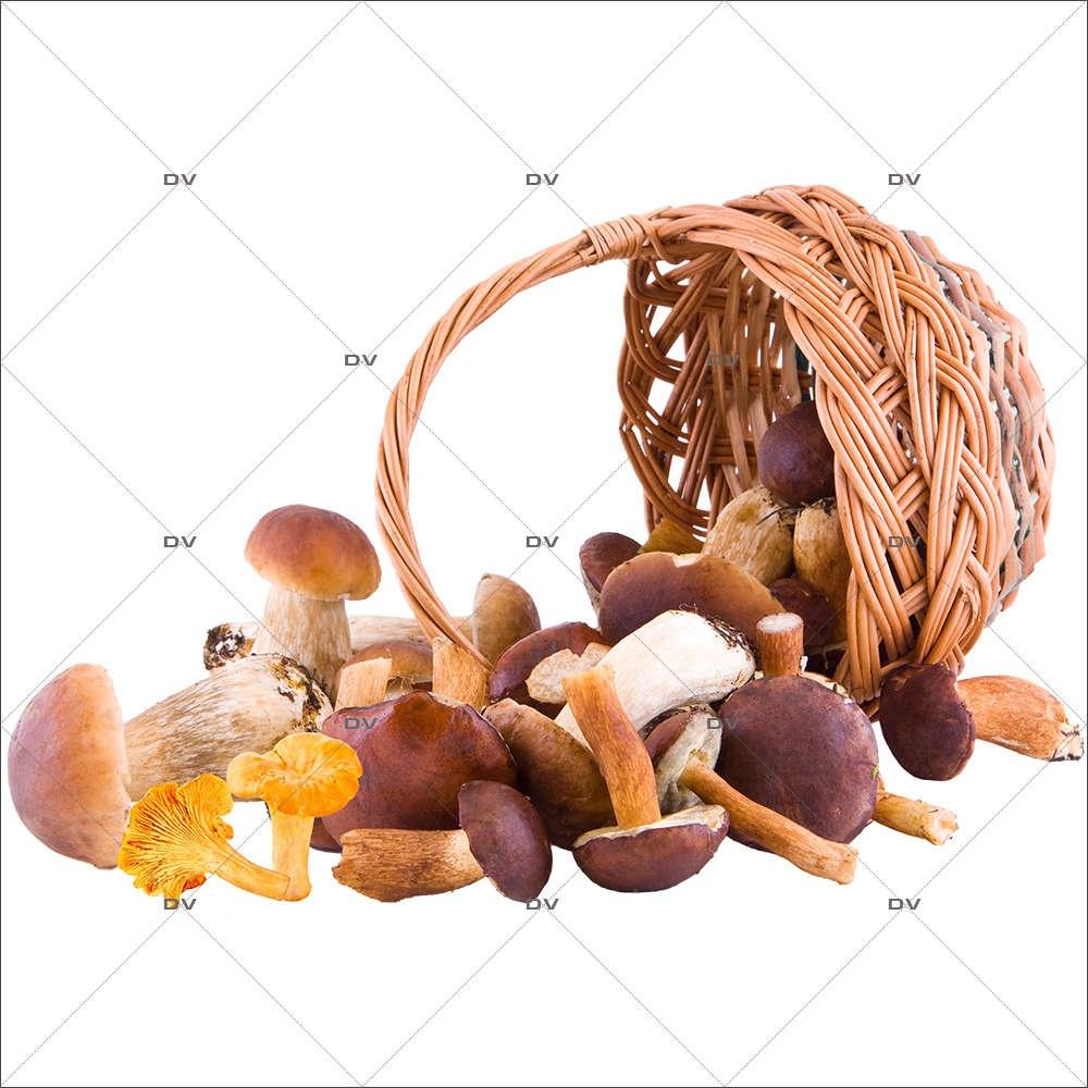 Sticker-panier-de-champignons-automne-osier-cèpes-girolles-vitrophanie-décoration-vitrine-automnale-électrostatique-sans-colle-repositionnable-réutilisable-DECO-VITRES