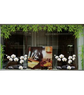 Sticker-orchidées-et-galets-fleurs-exotiques-tropicales-zen-asie-thaïlande-vitrophanie-décoration-vitrine-estivale-spa-institut-de-beauté-électrostatique-sans-colle-repositionnable-réutilisable-DECO-VITRES
