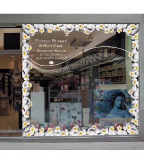 Sticker-angle-de-galets-fleurs-de-frangipanier-exotiques-tropicales-zen-asie-vitrophanie-décoration-vitrine-estivale-spa-institut-de-beauté-électrostatique-sans-colle-repositionnable-réutilisable-DECO-VITRES
