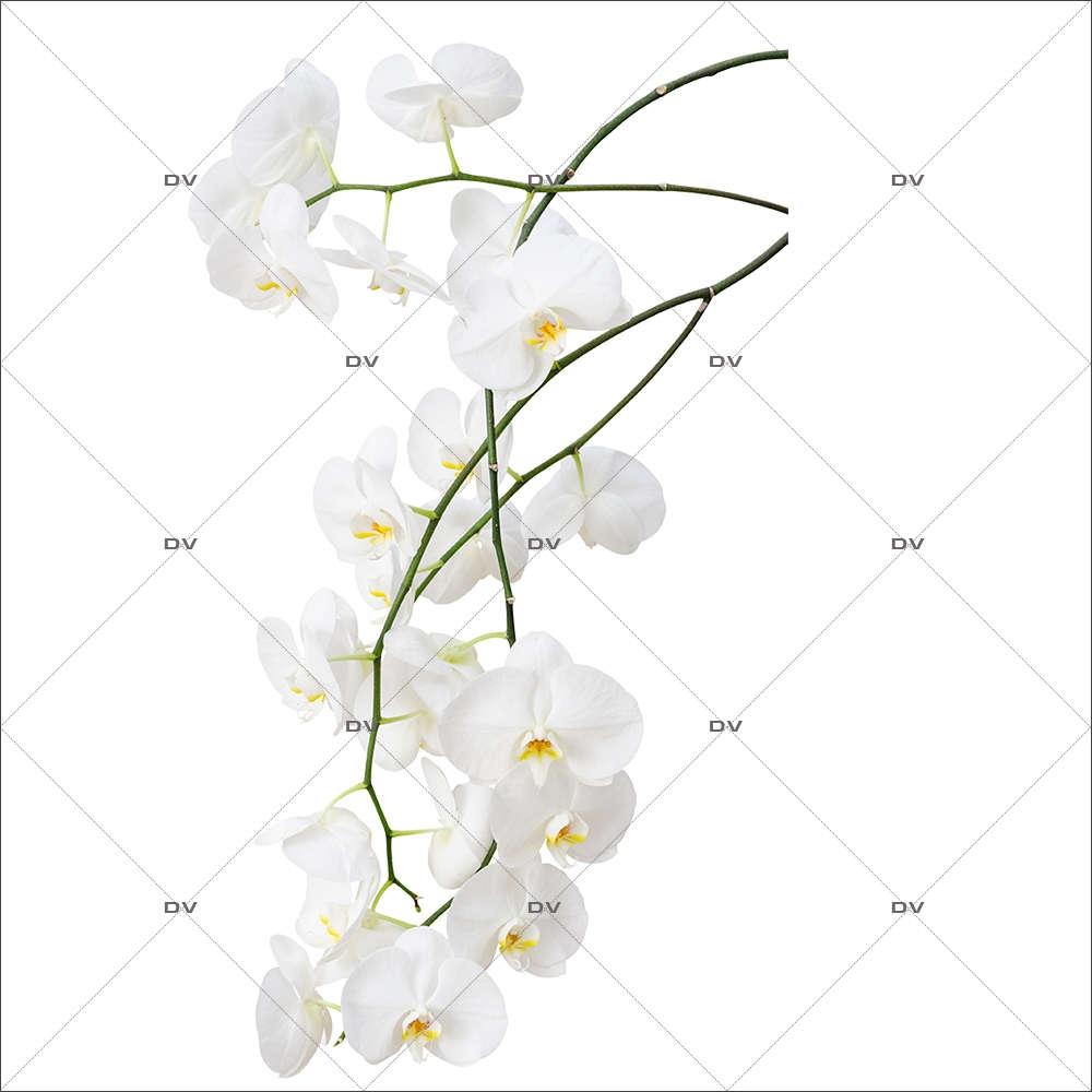 Sticker-branche-orchidées-blanches-fleurs-exotiques-tropicales-zen-asie-thaïlande-vitrophanie-décoration-vitrine-estivale-spa-institut-de-beauté-électrostatique-sans-colle-repositionnable-réutilisable-DECO-VITRES