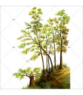 Sticker-sous-bois-automne-arbres-vitrophanie-décoration-vitrine-automnale-électrostatique-sans-colle-repositionnable-réutilisable-DECO-VITRES