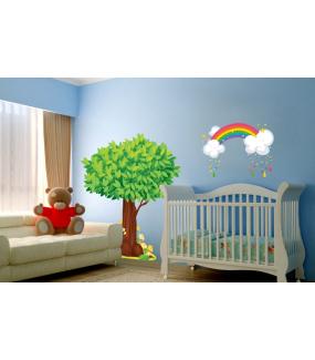 Sticker-arc-en-ciel-et-nuages-chambre-bébé-enfant-mural-adhésif-encres-écologiques-latex-décoration-intérieure-DECO-VITRES