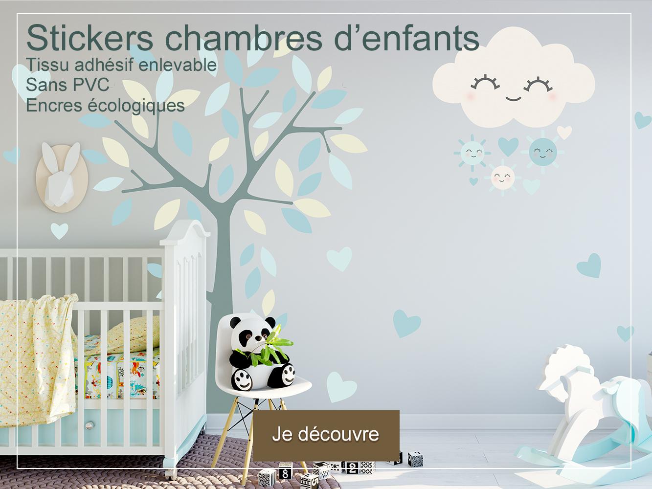Stickers muraux tissu enlevable encres écologiques chambres de bébé et d'enfants